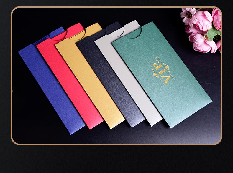 特种纸烫印礼品卡套 抽拉式卡套